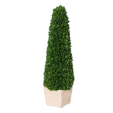 Faux Boxwood Potted Topiary Tree, Green