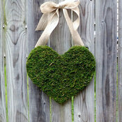 Moss-Covered Wood Heart With Burlap Bow by The Educated Owl