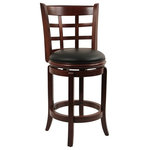 Boraam - Kyoto Swivel Counter Stool, Cherry - The Kyoto Swivel Stool from Boraam Industries, Inc. boasts a solid hardwood footrest. Boasting a 360-degree swivel mechanism, this piece has been designed with your comfort in mind. This stool also features a wooden backrest and a high-density foam seat cushion upholstered in shiny black bonded leather. Exuding a warm, luxurious feel, thanks to its rich colors and sumptuous textures, this swivel stool from Boraam Industries, Inc. makes a sophisticated addition to any interior space.