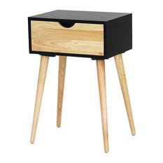 Heather Ann Creations   Euro 1 Drawer End Table, Black, W22377 BLk