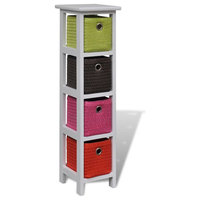 vidaXL Storage Rack with Multi-color Baskets Wood Drawer Shelf Unit Stand