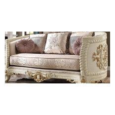 Traditional Style Cream & Beige Bone Carved Wood Finish Sofa