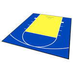 ModuTile - Outdoor Basketball Half Court Kit 20'x24', Yellow/Blue - Outdoor Basketball Court This product is an entry level basketball sport court floor engineered for outdoor use. The court measures 20 x 24 which is a standard high school half-court size. Made to be a DIY project, this outdoor court is constructed using the 12 x 12-inch Interlocking Perforated tiles, making installation almost effortless. With a wide variety of color combinations provided and custom made with basketball court lines included, you could have the basketball court of your dreams right outside your door. Traction Control Created with the Interlocking Perforated Tile, this unique basketball court includes small, elevated features which enhance grip endurance. Because of these special features, extra traction control is provided to prevent slipping while being active on top of the court. Lines Included Unlike most companies, ModuTile basketball court lines already on the product. These white court lines are custom painted on top of every set sold for your convenience. The lines are painted using a three-step process to ensure durability. Custom Sizes The above Outdoor Basketball Court kits are created to measure 20 x 24 ft., but options are not limited to just this one dimension. To further ease your installation and design process, you are given the opportunity to request specific measurements to accommodate the exact size and style of your new Outdoor Basketball Court. Easy DIY Installation This Do It Yourself basketball sport court does not require professional installation. One of the many benefits about the DIY Outdoor Basketball Court is that installation can be done with your own bare hands. Because of the tile's Loop-to-Peg Interlocking System, the tiles snap together with a single downward push. This puzzle-like construction was intentionally engineered for the customer's convenience. TIP: Because the outdoor sports court does have a rigid exterior, you may wish to use a small pl