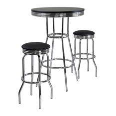 Summit 3 Pc Pub Table & Swivel Stool Set in Black