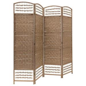 Traditional 4-Panel Folding Room Divider, Wooden Frame, Natural