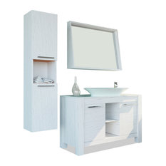 Bathroom Vanity Set Single Sink Freestanding, Pageo, Lacquer Matte White