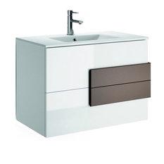 "Modern Bathroom Vanity Model 7300, Matte White, Matte Moccha Handles, 40"""