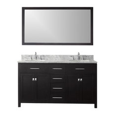 "60"" Transitional Double Sink Bathroom Vanity"
