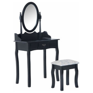 Dressing Table Set, MDF With Mirror and Cushioned Stool, Modern Design, Black