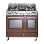 "Verona 36"" Dual Fuel Antique Single Oven Range, Burgundy, Double Oven"