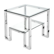 Laurence Side Table, High Polish Steel