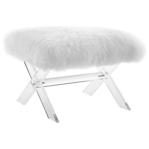 Awe Inspiring Linon Brittanyx Base Silver Vanity Bench With Acrylic Legs Ncnpc Chair Design For Home Ncnpcorg