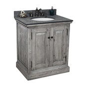 "Single Fir Sink Vanity Driftwood With Polished Surface Granite Top, 30"", Gray"
