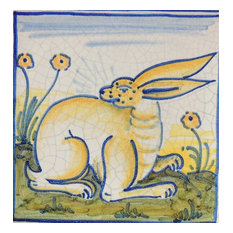 "Rabbit Square Tile, San Donato, Made in Castelli, Italy, 6""x6"""