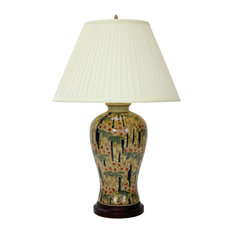 "25"" Glazed Bamboo Blossom Vase Lamp"