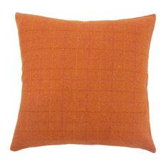 "Geovany Plaid Down Filled Throw Pillow, Orange, 20""x20"""