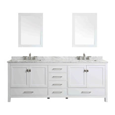 """Eviva Aberdeen 84"""" Transitional White Bathroom Vanity with White Carrera Top"""