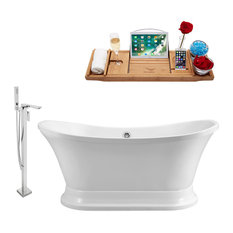"Streamline Faucet and Tub Set, Freestanding, 60"", White, Chrome"