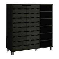 Shirley Wood 2-Door Shoe Cabinet With Open Shelves, Dark Brown