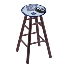 Oak Bar Stool Dark Cherry Finish With Toronto Maple Leafs Seat 30-inch
