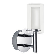 1x40W Vanity Light, Chrome Finish & Frosted & Clear Glass