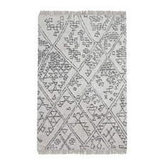 Tribal Drawings Geometric Triangles Area Rug, 5'x8' Gray Ivory Global Boho
