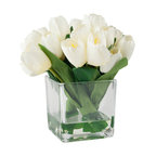 Pure Garden Tulip Floral Arrangement With Glass Vase, Cream