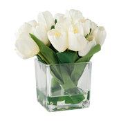 Pure Garden Tulip Floral Arrangement With Glass Vase, Cream