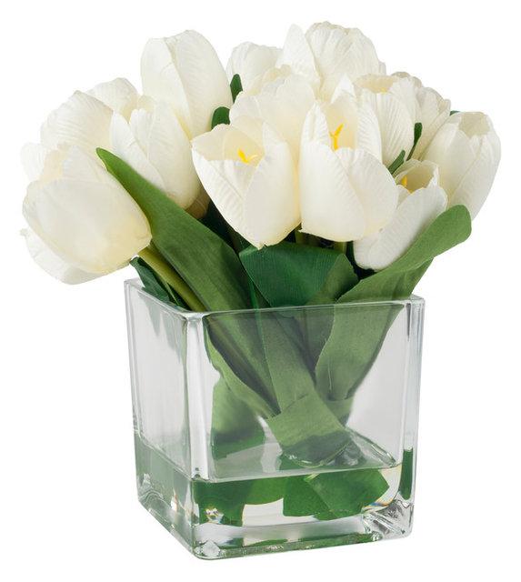 Tulip Floral Arrangement With Glass Vase, Cream  Contemporary  Artificial Flower Arrangements