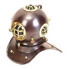 Uma Enterprises - Nautical Brass Diving Helmet Decor, Copper Brown Polished Brass Gold - Decorative