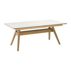 Skovby Mobelfabrik A/S Extendable Dining Table, White Top and Oak Legs