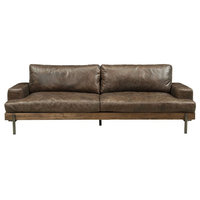NEW SILCHESTER INDUSTRIAL STYLE OAK & DISTRESS CHOCOLATE TOP GRAIN LEATHER SOFA