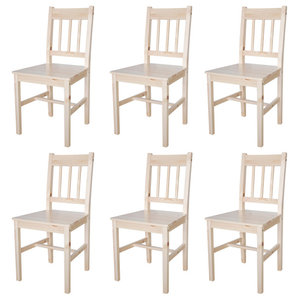 vidaXL Wood Dining Chairs, Natural, Set of 6