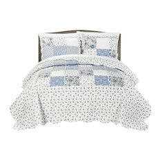 MHF Home Brenna 3-piece Reversible Floral Patchwork Quilt Set, Blue, King