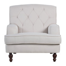 Divano Roma Furniture   Modern Tufted Fabric Living Room Armchair, Beige    Armchairs And Accent
