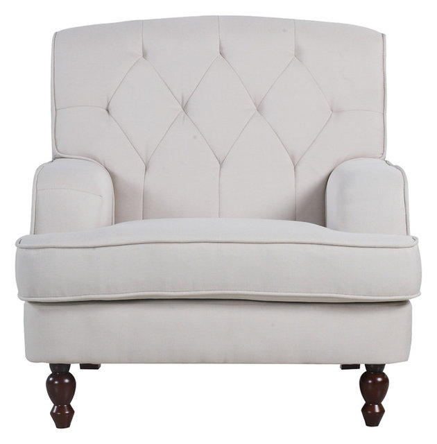 Etonnant Modern Tufted Fabric Living Room Armchair, Beige