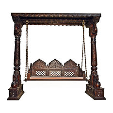 Carved Elephant & Peacock Brown Wooden Carved Royal Swing Set/Indoor Jhula