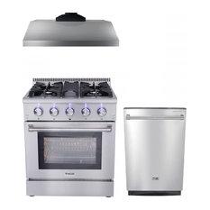 "Thor Kitchen 3-Piece 30"" Gas Range, Range Hood, And Dishwasher, Natural Gas"
