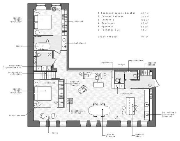 Современный План этажа by INT2architecture