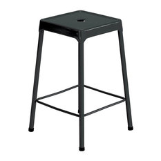 Counter-Height Steel Stool Black