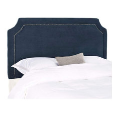 Full Size Headboard, Soft Upholstery With Nailhead Accent and Curved Corners, Na