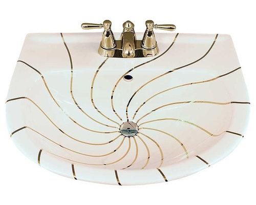 Gold Swirling Lines Painted Pedestal Top   Bathroom Sinks