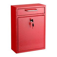 "Adiroffice Large Black Drop Box Wall Mounted Mail Box, 4.7""Dx11.2""Wx16.2""H, Red"