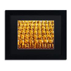 "Philippe Hugonnard 'Golden Buddhas' Art, Black Frame, Black Matte, 14""x11"""
