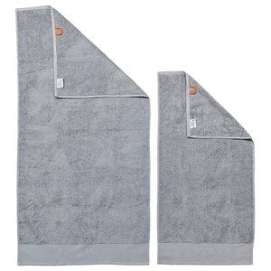 Mrs Black Line Stone Grey Towel Set With Grey Rhinestones, Silver, Set of 2