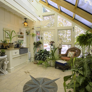 Sunroom   Mid Sized Traditional Limestone Floor And Beige Floor Sunroom  Idea In Other With