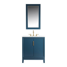 "Elizabeth 30"" Single Sink Carrara White Marble Vanity, Monarch Blue"