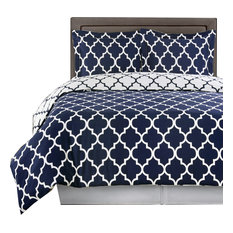 Meridian 100% Cotton Duvet Cover Set, Navy and White, Full/Queen