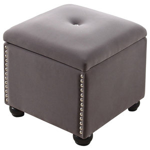 Round Ottoman Storage Chair Button Tufted   Transitional ...