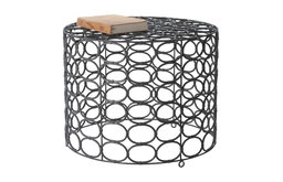 Weathered Gray Oval Ring Side Table